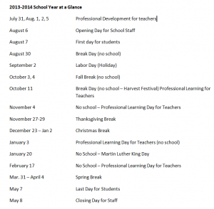 Martin County Kentucky 2013-2014 School Schedule